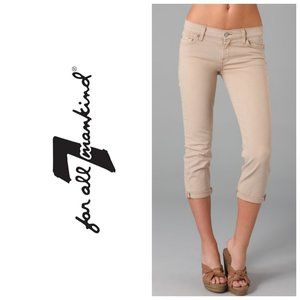 7 FOR ALL MANKIND Skinny Crop & Roll Beige Jeans